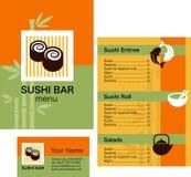 Het menumalplaatje van sushi en adreskaartje, met embleem Royalty-vrije Stock Afbeeldingen