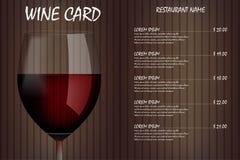 Het menuontwerp van de wijnkaart met realistisch glas Het menu van de de lijstdrank van de restaurantwijn, rood wijnglasmalplaatj stock illustratie