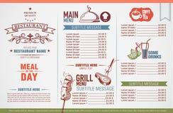 Het menuontwerp van het restaurant Stock Afbeelding