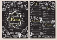 Het menuontwerp van restaurant heet dranken met bordachtergrond Vectorillustratiemalplaatje in uitstekende stijl Getrokken hand Royalty-vrije Stock Foto