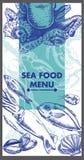 Het menuontwerp van het restaurant Overzees voedsel Vector Stock Afbeelding