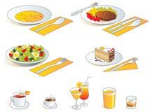Het menupictogrammen van het restaurant - voedsel en dranken royalty-vrije illustratie