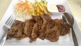Het menusamenvatting van het barbecuelapje vlees Stock Foto