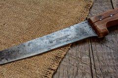 Het merk op een oud mes, wordt het gemaakt in het jaar van 1927 Stock Fotografie