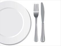 Het mes en de vork van de plaat Royalty-vrije Stock Afbeeldingen