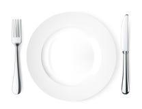 Het mes en de vork van de plaat. Vector Illustratie