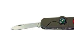 Het mes van de zak met kompas Stock Foto's
