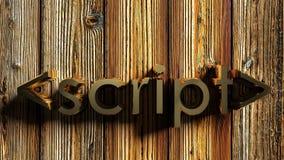 het messing schrijft op houten achtergrond - het 3D teruggeven Stock Afbeeldingen