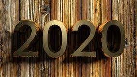het messing van 2020 schrijft op ruw hout - het 3D teruggeven Royalty-vrije Stock Afbeelding