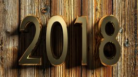 het messing van 2018 schrijft op ruw hout - het 3D teruggeven Stock Fotografie