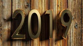 het messing van 2019 schrijft op ruw hout - het 3D teruggeven Stock Afbeeldingen