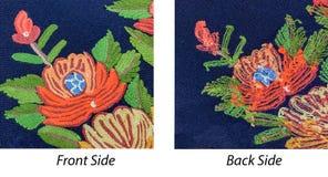 Het met de hand gemaakte patroon van de borduurwerkbloem met achter en voor zijaanzicht om mens te vergelijken en te ontdekken di stock foto
