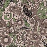 Het met de hand gemaakte patroon van Mehenditracery, Naadloos, Stock Fotografie