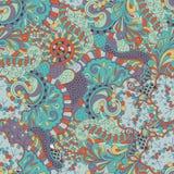 Het met de hand gemaakte patroon van Mehenditracery, Naadloos, Stock Afbeelding