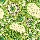 Het met de hand gemaakte patroon van Mehenditracery, Naadloos, Royalty-vrije Stock Afbeeldingen