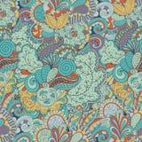 Het met de hand gemaakte patroon van Mehenditracery, Naadloos, Royalty-vrije Stock Afbeelding