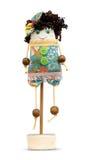 Het met de hand gemaakte poppen zachte stuk speelgoed isoleerde grappig meisje op  Stock Fotografie