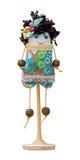 Het met de hand gemaakte poppen zachte stuk speelgoed isoleerde grappig meisje op de tribune Stock Fotografie
