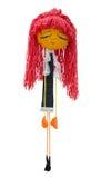 Het met de hand gemaakte poppenstuk speelgoed isoleerde dun pijnlijk droevig meisje in een kleding Stock Foto