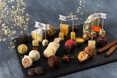 Het met de hand gemaakte suikergoed van de chocoladekaas, wit, dark en melkchocola en verschillende soorten kaas op de plaat Gast stock foto