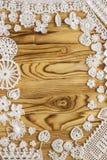 Het met de hand gemaakte wit haakt kaderpatroon, het breien, het naaien Royalty-vrije Stock Fotografie