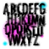 Het met de hand geschreven alfabet van de onduidelijk beeldwaterverf Royalty-vrije Stock Fotografie