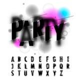 Het met de hand geschreven alfabet van de onduidelijk beeldwaterverf Stock Foto