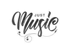 Het met de hand geschreven borstelinkt van letters voorzien van enkel Muziek met hoofdtelefoons op witte achtergrond royalty-vrije illustratie