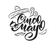 Het met de hand geschreven kalligrafische type van letters voorzien van Cinco De Mayo met hand getrokken sombrero, maracas en pep stock illustratie