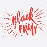 Het met de hand geschreven moderne borstel van letters voorzien van Black Friday Stock Afbeelding