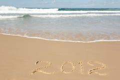 Het met de hand geschreven Schone Zand van het Bericht van 2012 Royalty-vrije Stock Afbeeldingen