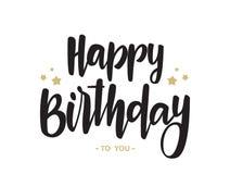 Het met de hand geschreven type van letters voorzien van Gelukkige Verjaardag aan u op witte achtergrond Typografieontwerp De kaa stock fotografie