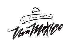 Het met de hand geschreven van letters voorzien van Traditionele Mexicaanse uitdrukkingsvakantie van Viva Mexico met hand getrokk vector illustratie