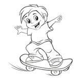 Het met een skateboard rijden van jongen vector illustratie