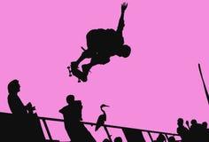 Het met een skateboard rijden van silhouet Stock Foto's