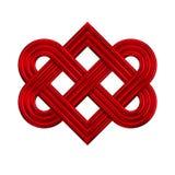 Het met elkaar verbindende pictogram van de hartknoop Stock Fotografie