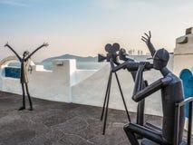 Het metaal beeldhouwt pomoting Busan-Filmfestival over de Haeundae-promenade Royalty-vrije Stock Foto's