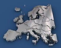 Het metaalkaart van Europa Stock Illustratie