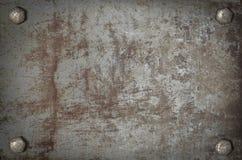 Het metaalplaat van de kunst grunge met schroeven Royalty-vrije Stock Afbeeldingen