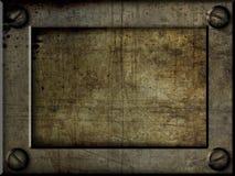 Het metaalplaat van de kunst grunge met schroeven Royalty-vrije Stock Afbeelding