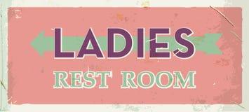 Het metaalteken van het Grunge retro toilet Dames oude raad Uitstekende affiche met pijl Ouderwets ontwerp stock illustratie