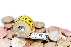 Het meten van band en euro Stock Afbeeldingen