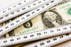 Het meten van de dollar stock afbeelding