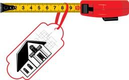 Het meten van heerser met markering. Plattelandshuisje voor verkoop Royalty-vrije Stock Afbeeldingen