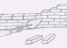 Het metselwerk van de potloodtekening vector illustratie