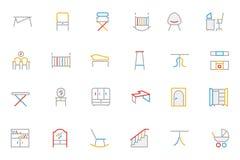 Het meubilair kleurde Overzichts Vectorpictogrammen 4 Stock Afbeeldingen