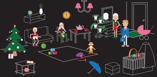 Het meubilair van de familieruimte Royalty-vrije Stock Afbeeldingen