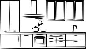 Het meubilair van de keuken Stock Afbeeldingen