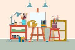 Het meubilair van de het ontwerpstudio van de kunsttekening vector illustratie