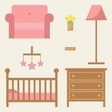 Het meubilairreeks van de babyruimte Modern houten meubilair Royalty-vrije Stock Foto's